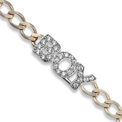 9ct Yellow Gold Kids CZ 'Boy' Curb Bracelet