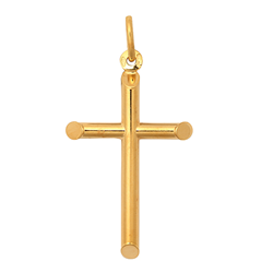 9ct Yellow Gold Plain Hollow Cross Pendant