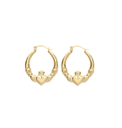 9ct Yellow Gold Claddagh Earrings