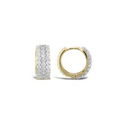 9ct Yellow Gold CZ Huggie Earrings