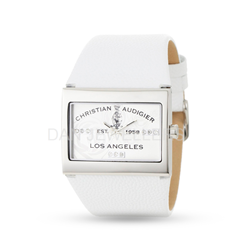 White Leather Strap Square Ca Wat