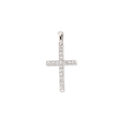 9ct White Gold Cz Channel Set Cross Pendant