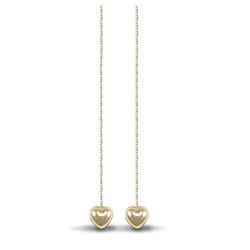 9ct Yellow Gold Heart Pull Through Earrings