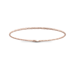 Sterling Silver Thin Disco Slave Bangle - Rose Plated