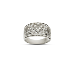 Silver Cz Raised Hearts Ring