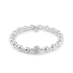 Rhodium Plated Silver Stretchy Ball Crystal Bracelet
