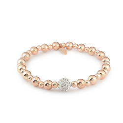 Rose Stretchy Ball Crystal Bracelet