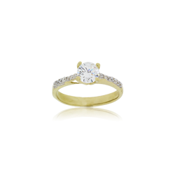 9ct Yellow Gold 6mm Cz Solitare Ring Cz Sides