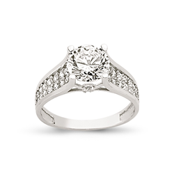 9ct White Gold Cz Ring 3 Row Shoulder