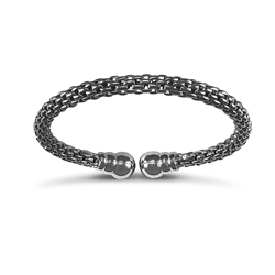 Black Rhodium Plated Silver Mesh Torque Style Bangle
