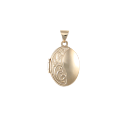 9ct Yellow Gold Embossed Locket Pendant