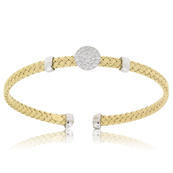 Cz Circle Gold Plated Silver Weave Bangle