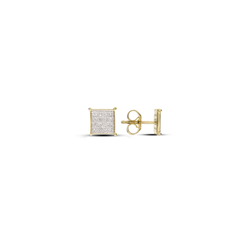 Checked Square Diamond Earrings