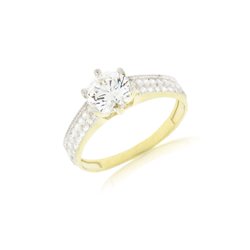 9 ct Yellow Gold Large Cz Centre Stone Ring
