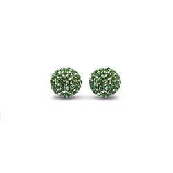 Sterling Silver 10mm Dark Green Crystal Stud Earrings