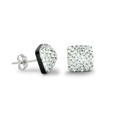 Sterling Silver Crystal Pyramid Stud Earrings