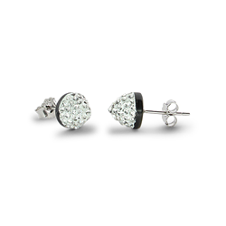 Sterling Silver Crystal Cone Stud Earrings