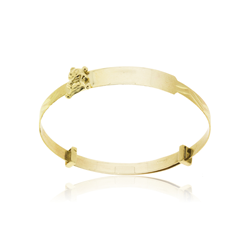9ct Yellow Gold Teddy Bear Expandable Baby Bangle