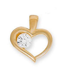 9ct Yellow Gold Single Cz In Heart Pendant