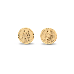 9ct Yellow Gold St. Christopher Medallion Stud Earrings