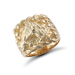 9ct Yellow Gold Gents Keeper Ring With Horse Head