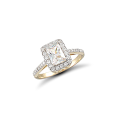 9ct Yellow Gold Emerald Cut CZ Ring With CZ surround and shoulders