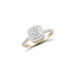 9ct Yellow Gold Square CZ Ring With CZ shoulders