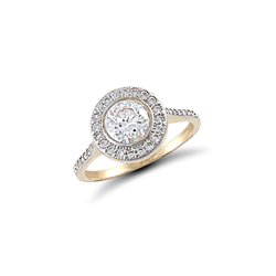 9ct Yellow Gold Round Halo Style Cubic Zirconia Ring With CZ Shoulders