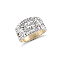 9ct Yellow Gold CZ Greek Style Pattern Ladies Ring
