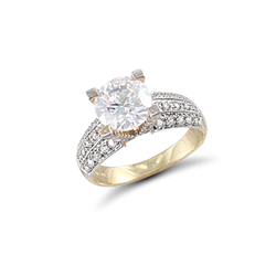 9ct Yellow Gold Large Cz Ring With Three Rows of CZ on Shoulders