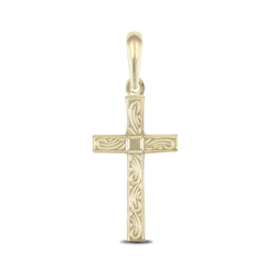 9ct Yellow Gold Patterned Cross Pendant