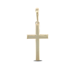 9ct Yellow Gold Cross With Patterned Edge