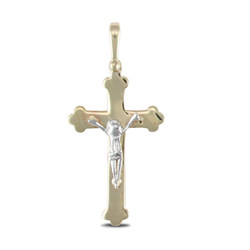 9ct Yellow and White Gold Crucifix