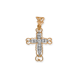 9ct Yellow Gold CZ Crucifix Pendant