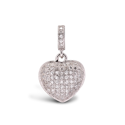 Sterling Silver CZ Drop Heart Pendant