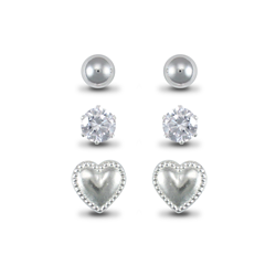 Sterling Silver Studs Set (Plain Ball, CZ & Heart)