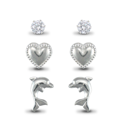 Sterling Silver Studs Set (CZ, Heart & Dolphin)