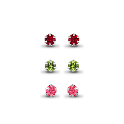 Sterling Silver Studs Set (Red, Green & Pink CZ)