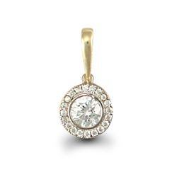 9ct Yellow Gold Round CZ Pendant