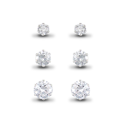 Sterling Silver CZ Studs Set