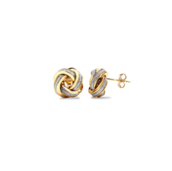 9ct Yellow Gold Glitter Lovers Knot Stud Earrings