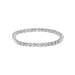 Sterling Silver Faceted Ball Stretch Bracelet 4mm
