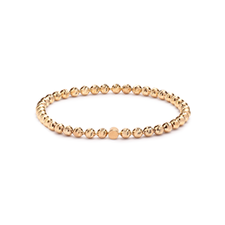 Gold Plated Sterling Silver Faceted Ball Stretch Bracelet 4mm