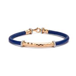 Gold Plated Sterling Silver & Glitter Bar on Blue Cord Bracelet