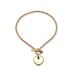 9ct Yellow Gold Heart T Bar Ladies Bracelet