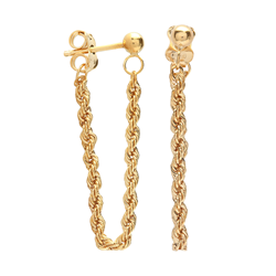 9ct Yellow Gold Twist Rope Drop Earrings