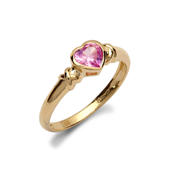 9ct Yellow Gold Pink CZ Heart Ladies Ring