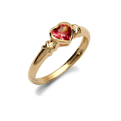 9ct Yellow Gold Red CZ Heart Ladies Ring