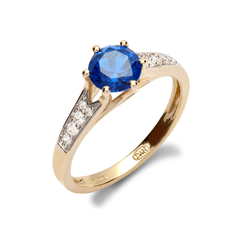 9ct Yellow Gold CZ & Blue Ladies Ring