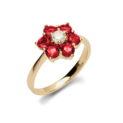 9ct Yellow Gold CZ & Red Cluster Flower Ladies Ring